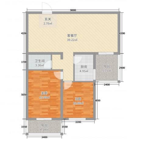 哈佛印象2室2厅1卫1厨115.00㎡户型图