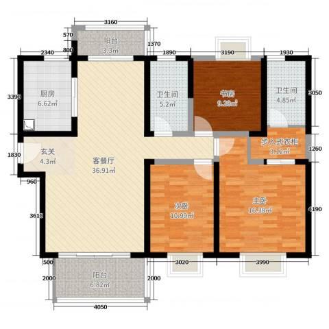 实地・玫瑰庄园3室2厅2卫1厨130.00㎡户型图