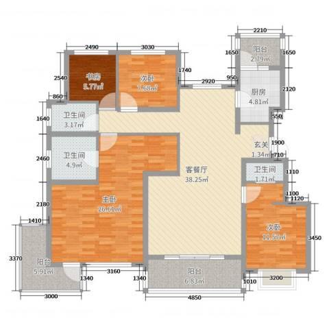 天山熙湖澜岸4室2厅3卫1厨150.00㎡户型图