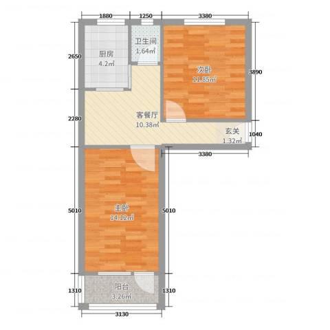林大北路9号院2室2厅1卫1厨65.00㎡户型图