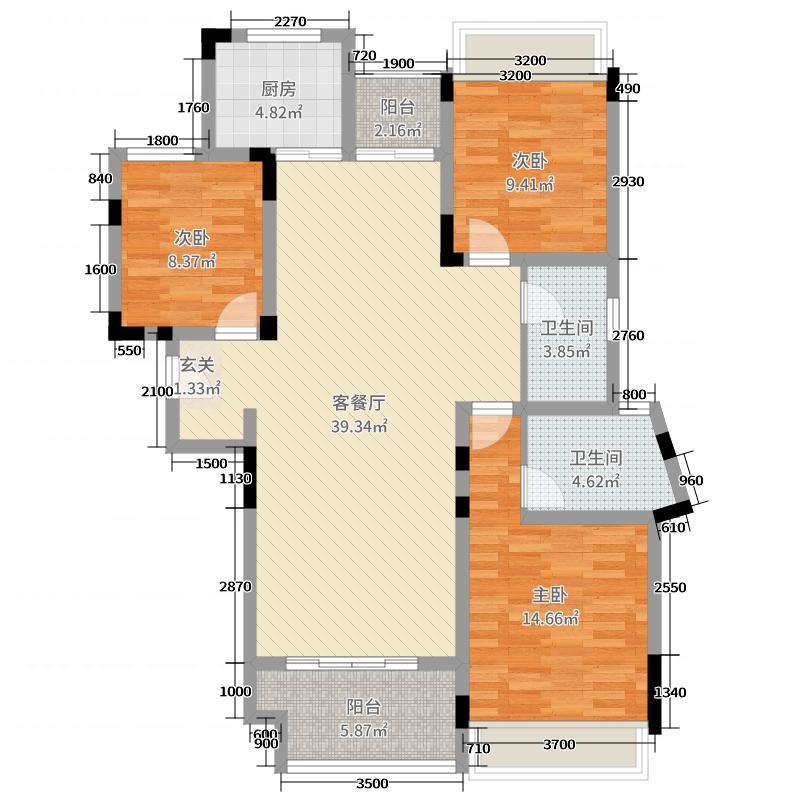 畔山华庭127.50㎡1、2号楼03户型3室3厅2卫1厨