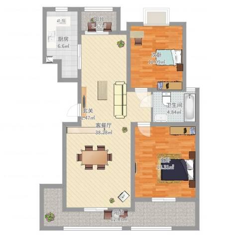 报业园2室2厅1卫1厨134.00㎡户型图