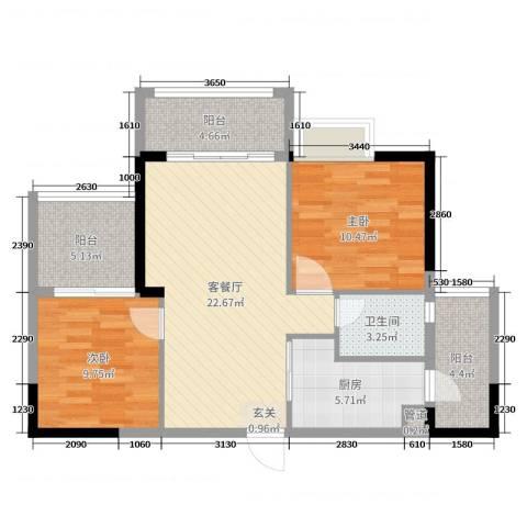 沃华・时代广场2室2厅1卫1厨81.00㎡户型图