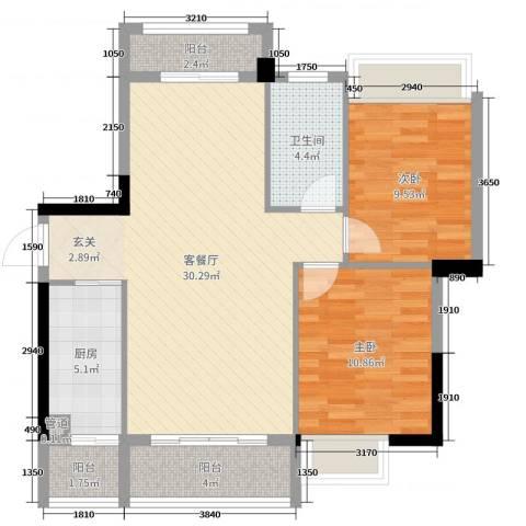 沃华・时代广场2室2厅1卫1厨91.00㎡户型图