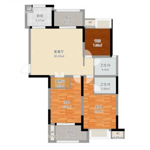 中乐江南名都3室2厅2卫1厨120.00㎡户型图