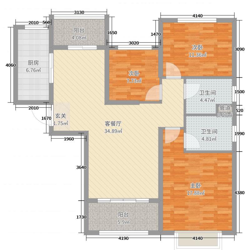 恒大绿洲・二号院122.76㎡户型3室3厅2卫1厨