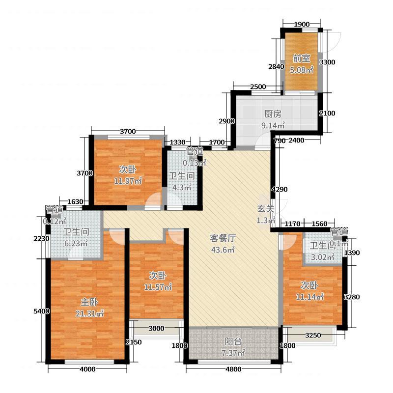 银河国际居住区192.00㎡T2B-4户型4室4厅3卫1厨