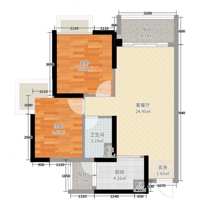 海伦堡爱ME城市73.00㎡1-3栋01户型2室2厅1卫1厨