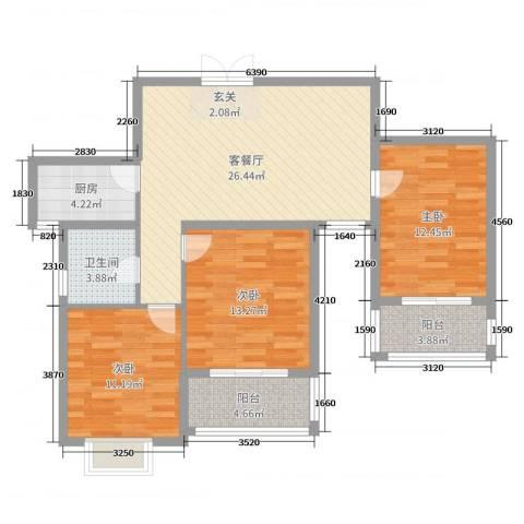 青春雅轩二期3室2厅1卫1厨99.00㎡户型图