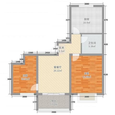 昊和沁园2室2厅1卫1厨85.00㎡户型图
