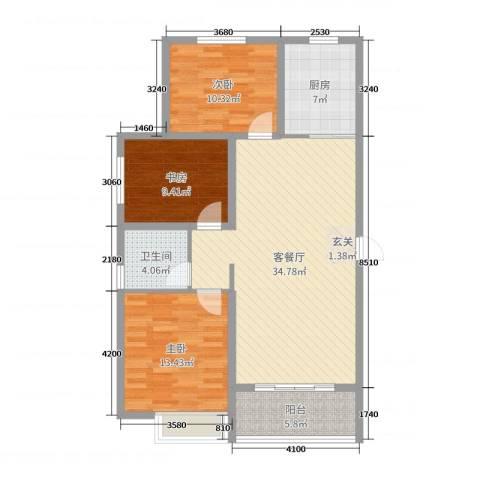 昊和沁园3室2厅1卫1厨106.00㎡户型图