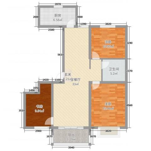 昊和沁园3室2厅1卫1厨108.00㎡户型图