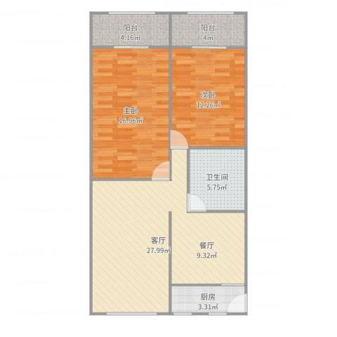 曹杨五村2室1厅1卫1厨93.00㎡户型图