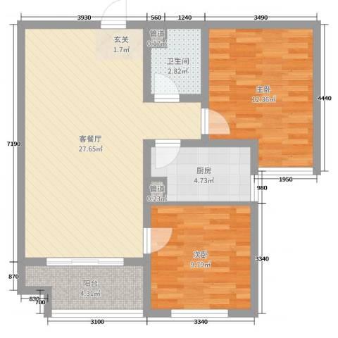 香榭丽都2室2厅1卫1厨62.06㎡户型图