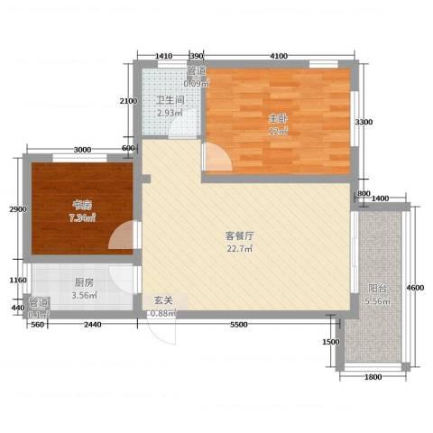 香邑溪谷2室2厅1卫1厨72.00㎡户型图