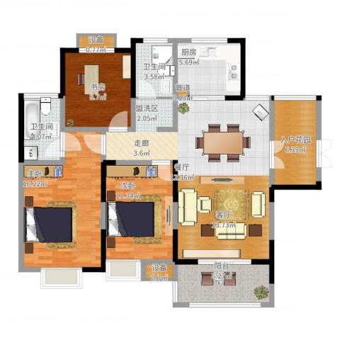 蓝鼎海棠湾3室2厅2卫1厨136.00㎡户型图