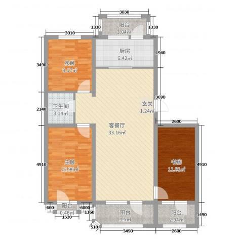 坤博幸福城3室2厅1卫1厨98.00㎡户型图