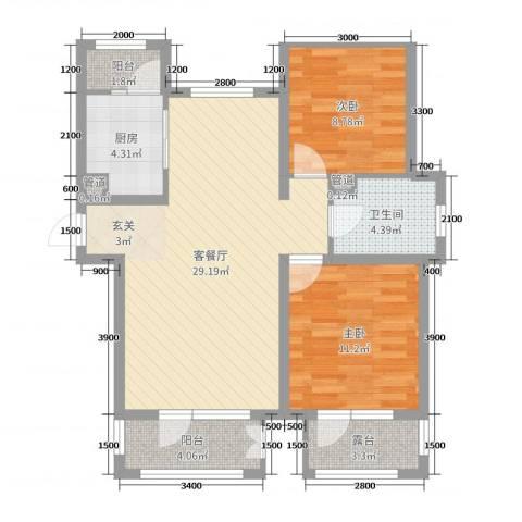 香邑溪谷2室2厅1卫1厨89.00㎡户型图
