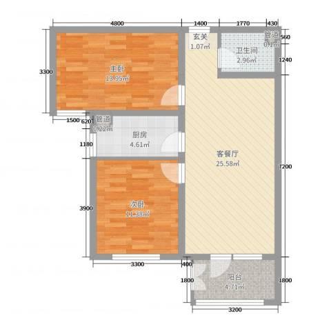 香邑溪谷2室2厅1卫1厨86.00㎡户型图