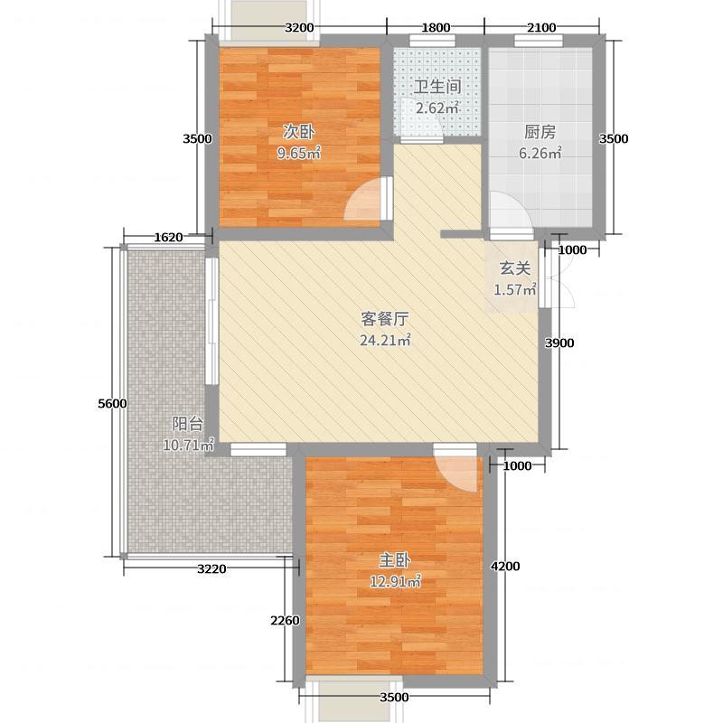 森海豪庭四期89.00㎡3#B1户型2室2厅1卫1厨
