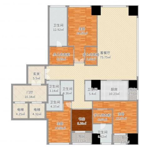 融创玖玺台2号楼E户型4室2厅6卫1厨300.00㎡户型图