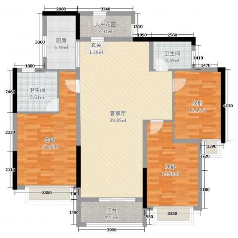 西湖怡景园二期3室2厅2卫1厨118.00㎡户型图