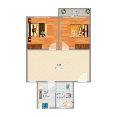太湖花园二期2室1厅1卫1厨76.00㎡户型图