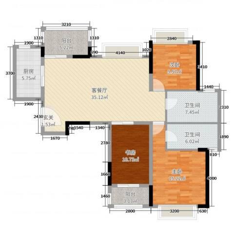 西湖怡景园二期3室2厅2卫1厨121.00㎡户型图