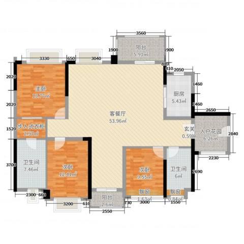 西湖怡景园二期3室2厅2卫1厨137.00㎡户型图
