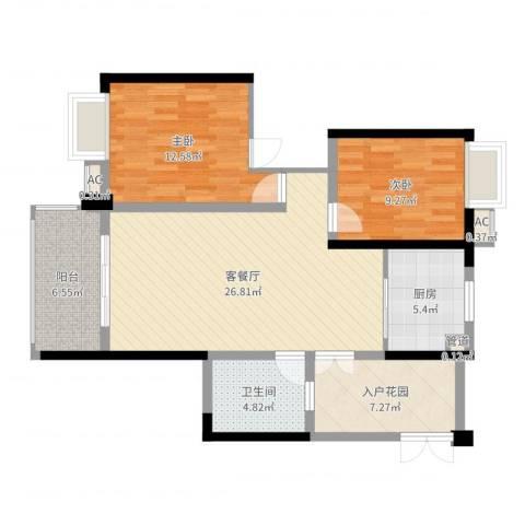 世纪城龙禧苑2室2厅1卫1厨92.00㎡户型图