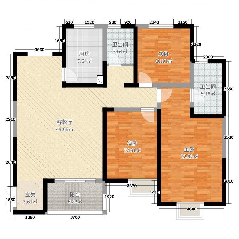 通利紫荆尚都141.64㎡二期9、10号楼H2-1户型3室3厅2卫1厨