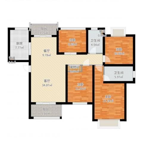 明天华城4室1厅2卫1厨139.00㎡户型图