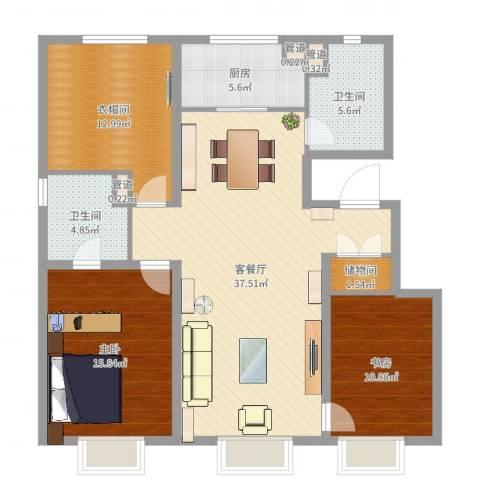 万科金域长春2室2厅2卫1厨119.00㎡户型图