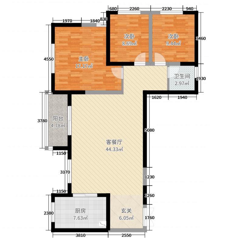 通利紫荆尚都119.21㎡二期9、10、11号楼H1户型3室3厅1卫1厨
