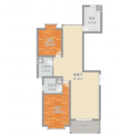 御水豪庭2室2厅2卫1厨108.00㎡户型图