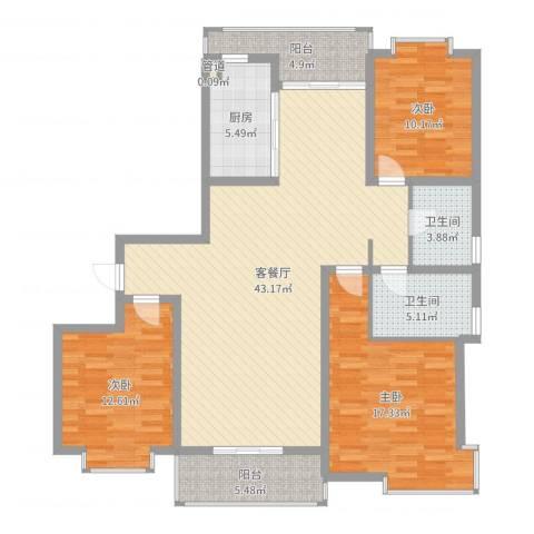 御水豪庭3室2厅2卫1厨135.00㎡户型图
