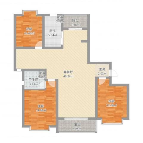 御水豪庭3室2厅1卫1厨128.00㎡户型图