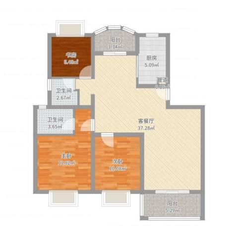 源城锦翠苑3室2厅2卫1厨110.00㎡户型图