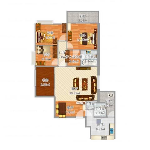 龙湖大厦西塔4室1厅3卫1厨121.00㎡户型图