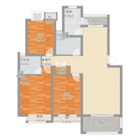 京东小区E区3室2厅2卫1厨147.00㎡户型图