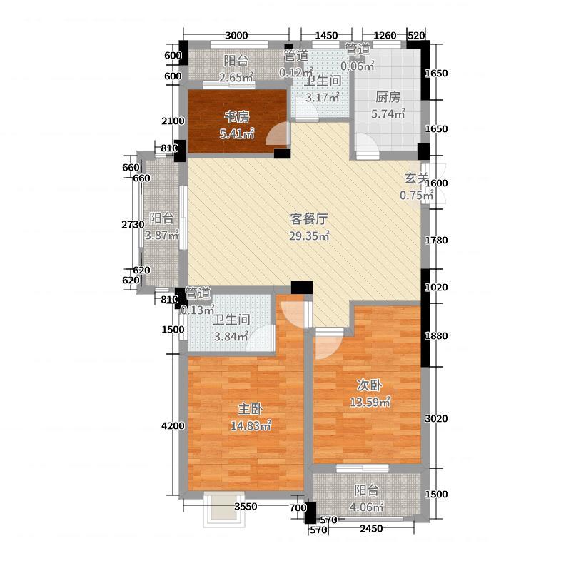和泰城115.00㎡C型三阳台户型3室3厅2卫1厨