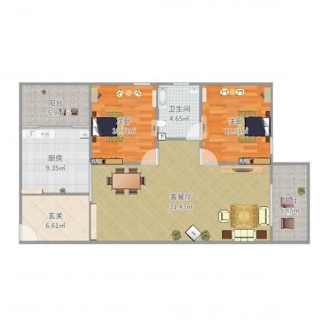 乐怡花园2室2厅1卫1厨107.00㎡户型图