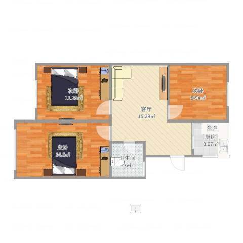 芳华路268弄小区3室1厅1卫1厨70.00㎡户型图