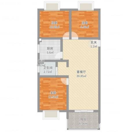 天瑞名城3室2厅1卫1厨96.00㎡户型图