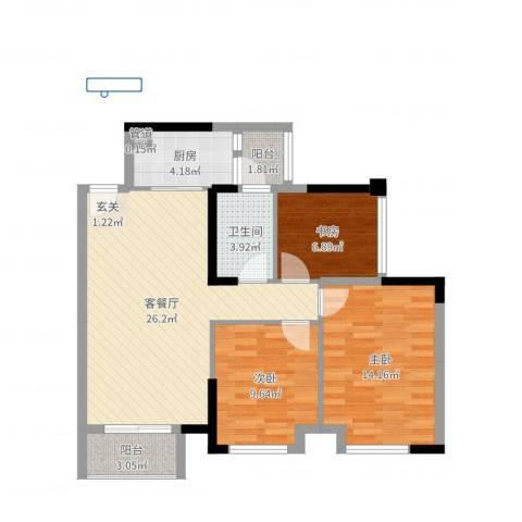 万象凯旋湾3室2厅1卫1厨88.00㎡户型图