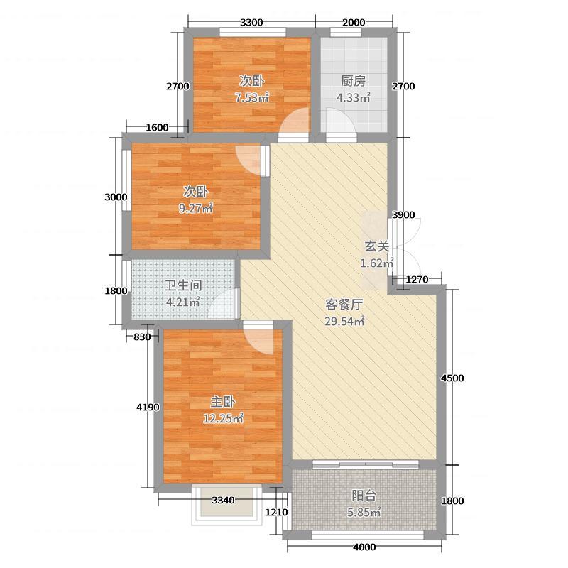 光明幸福小镇95.00㎡二期多层C户型3室3厅1卫1厨