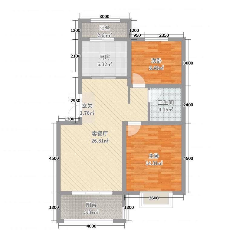 光明幸福小镇88.00㎡二期多层A户型2室2厅1卫1厨