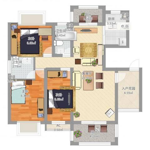 发展路教师公寓3室2厅2卫1厨97.00㎡户型图