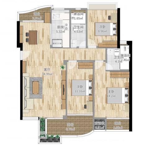 蓝月湾畔3室1厅3卫1厨122.00㎡户型图