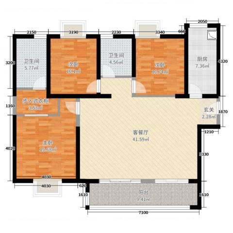 实地・玫瑰庄园3室2厅2卫1厨136.00㎡户型图